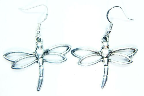 ANTIQUE Silver DRAGONFLY Earrings On Sterling Silver Hooks Gift Bag BOHO SUMMER