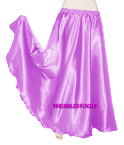Silver TMS Satin Half Circle Skirt Belly Dance Maxi 4-5 Yard 30Color Instock