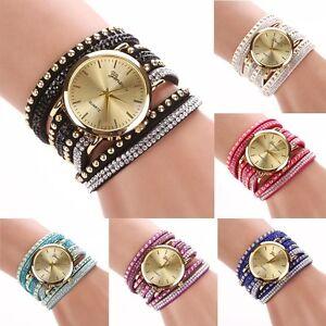 8c9903fcfb Details zu 2017 Damen Uhrglas Niet Armband Quarz Geflochtenes Gewunden  Wickel Armbanduhr