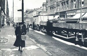 Nostalgia Postcard 1954 Train in the Street, During Glsgow Fair Repro Card NS25