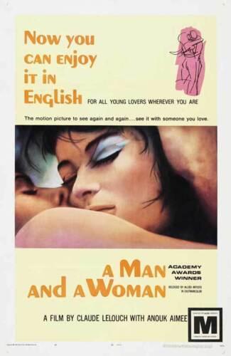 A MAN AND A WOMAN Movie POSTER 27x40 Anouk Aimee Jean-Louis Trintignant Pierre