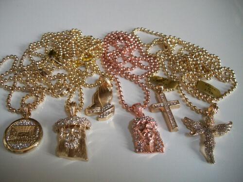 ROSE GOLD//GOLD FINISH HIP HOP BLING BEADED FASHION PENDANT /&  CHAIN