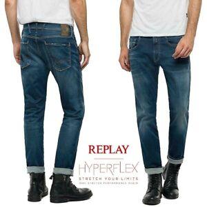 Dettagli su Jeans uomo REPLAY HYPERFLEX ANBASS hot slim fit super elasticizzato M914 661 604