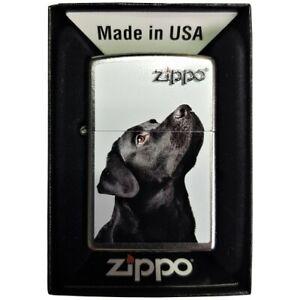 Zippo-Schwarzer-Labrador-Silber-Lighter-Benzin-Sturm-Feuerzeug