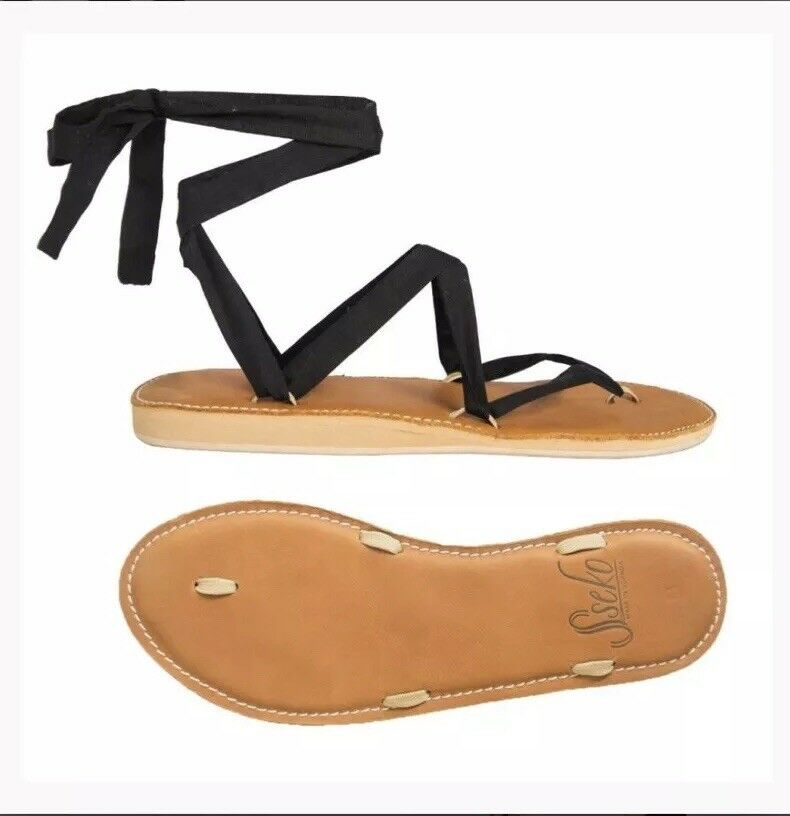 Sseko Ribbon Sandals Carmel Leather Stitched size 7 + 5 Ribbons & Accent Pair
