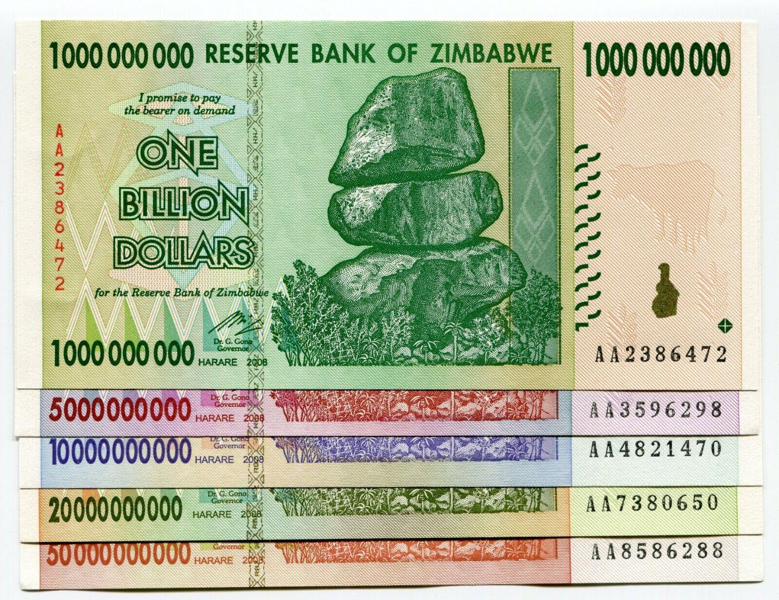 500 Million to 10 Trillion Dollars Full Set w// Billions ~ 7 Bank Notes ~ AA 2008