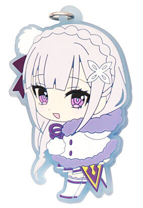 Rezero Anime Strap Emilia Rem Ram Beatrice Felix Re:Zero Winter Rubber Keychain