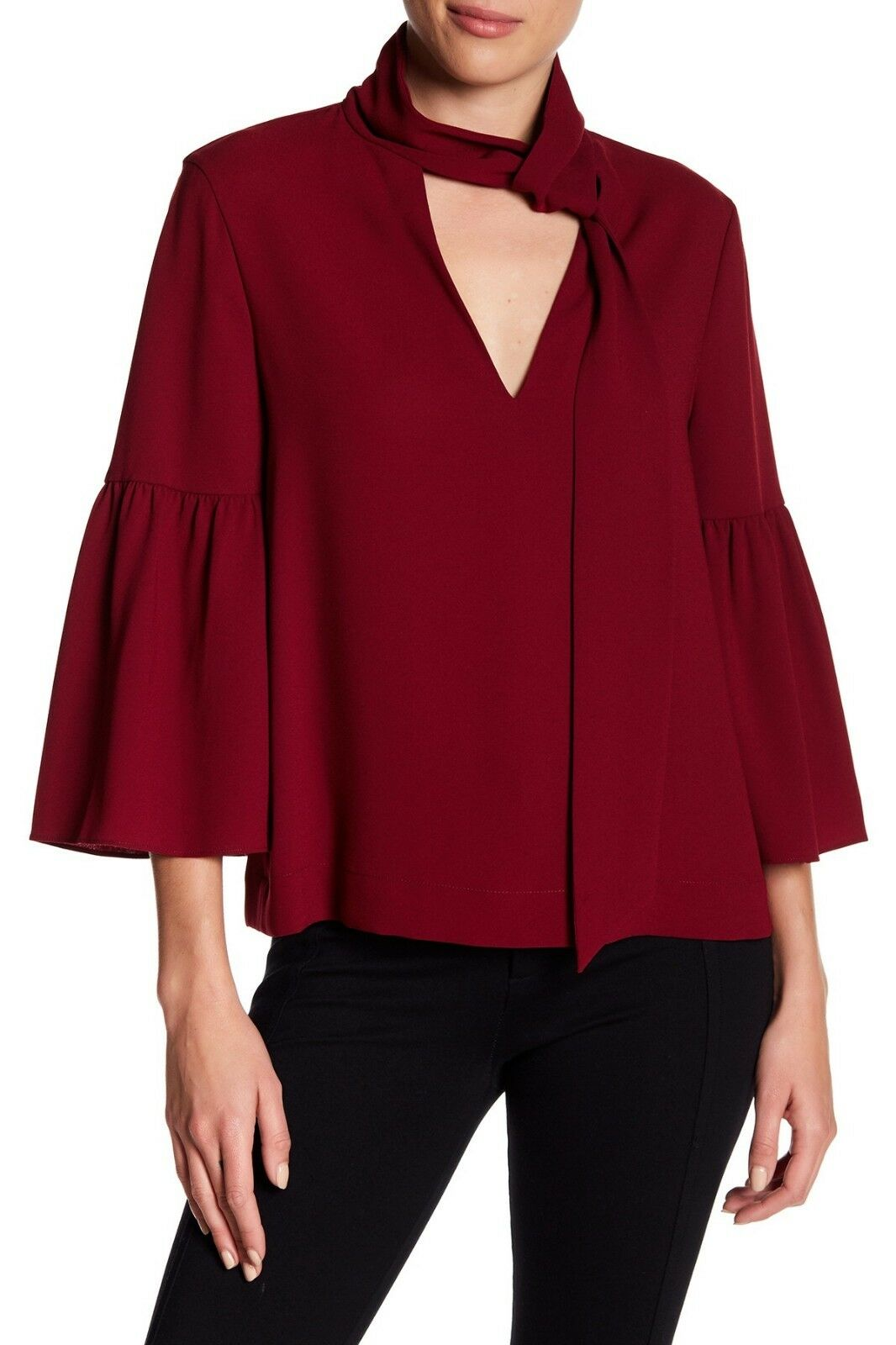 BCBG Mellie Neck-Scarf Top Bell Sleeve Blouse Cranberry Burgundy Wine Small S