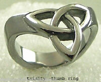 Trinity Knot Thumb Ring Stainless Steel Silver Size 8-10 Hot Style