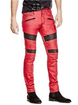 & G Von Raten Axel Moto Reißverschluss Dünne Jeans In Havanna Rot Mit Schwarz Zu Hohes Ansehen Zu Hause Und Im Ausland GenießEn