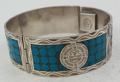 Vintage Sterling Silver & Turquoise Aztec Panel Bangle Mexican Bracelet
