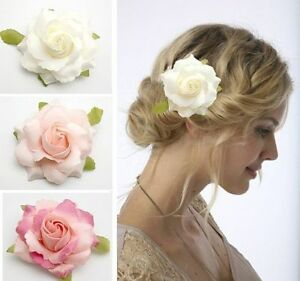 35 White Pink Rose Flower Hair Clip Brooch Wedding Bridal Corsage