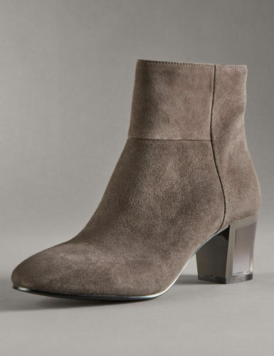 M&S Autograph Boots Dark Grey Suede Stain Resistance Perspex Heel with Insolia