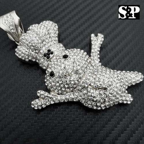 HIP HOP ICED OUT WHITE GOLD PLATED LAB DIAMOND RAPPER/'S LARGE DOUGHBOY PENDANT
