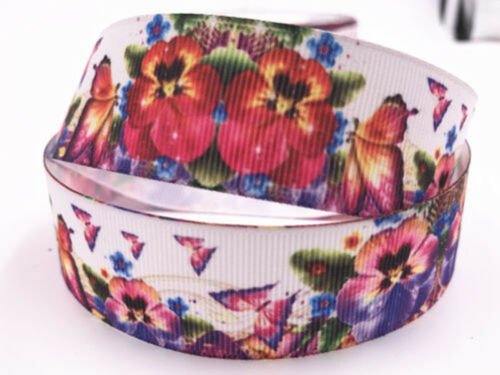 "5-10Yards 1/""25mm Printed rainbow Grosgrain Ribbon Hair Bow Sewing"