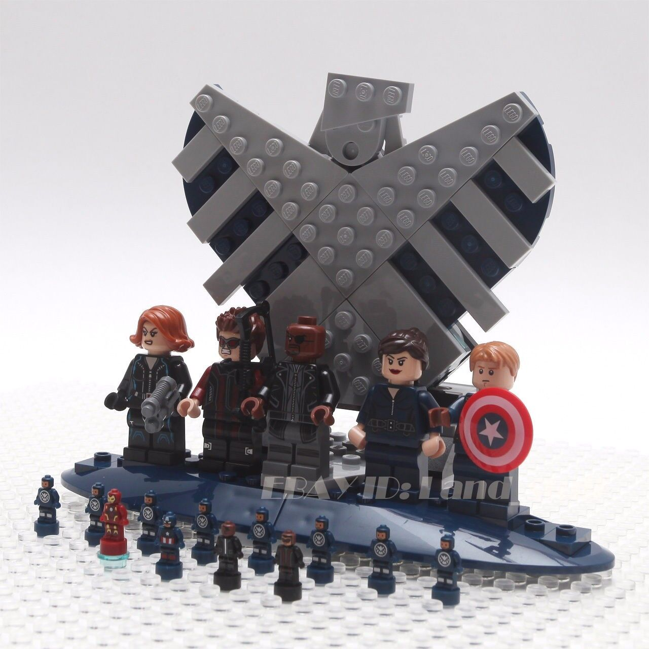 LEGO Marvel 76042 76042 76042 SHIELD Helicarrier set of 5 Minifigures+12 micro figure+stand 240fb1