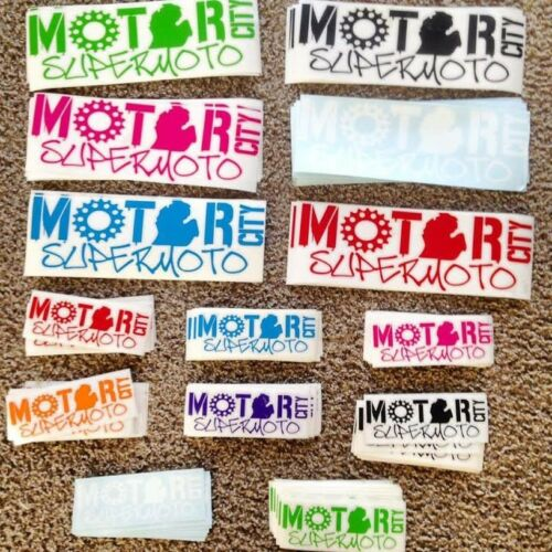 """Die-cut Decal 3/""""x9/"""" Motor City Supermoto 2 pack white"""