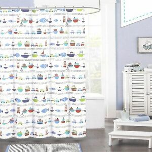Image Is Loading Authentic Kids Fabric Shower Curtain CARS BOATS FISH