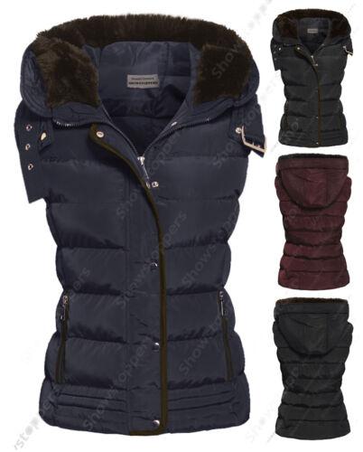 Größe 8 10 12 14 16 Damen Weste Bodywarmer Damen Jacke gepolstert Kapuze Weste
