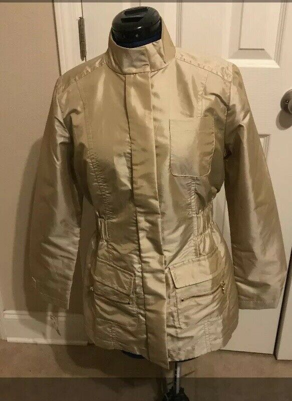 Rare Boston Proper Sport Gold Metallic Nylon Jacket Small