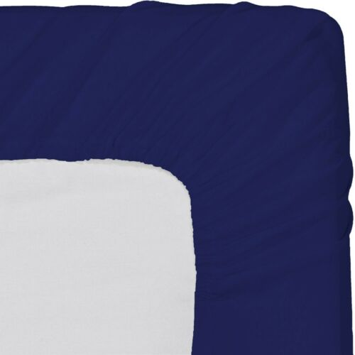 """Comfort 1 PC Fitted Sheet 15/"""" Deep Pocket 1000 TC Navy Blue Solid Cal King Size"""