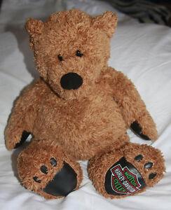 Harley-Davidson-Plush-Stuffed-Bear-18-034-Brown-Embroidered-Logo-On-Foot