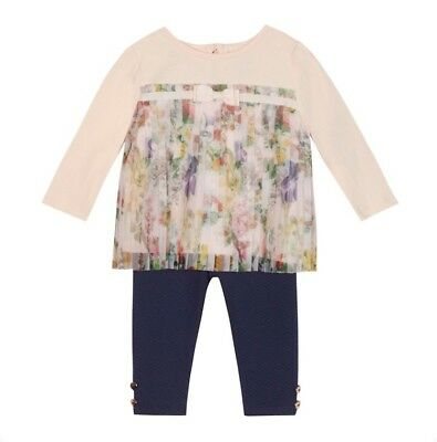aa3932ff9 Baker By Ted Baker Baby Girls Mesh Pleated Top and Quilted Leggings 0-3  Months