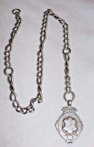 Ancien-1908-Argent-Sterling-Fob-sur-Lien-Chaine-39-6-Grammes-Complet-Hallmarks