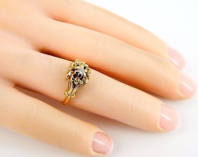 Fine Art Nouveau 14K Diamond Ring--Size 4