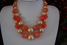 VINTAGE MULTI STRAND NECKLACE FAUX ACRYLIC PEARLS AND PINK ACRYLIC STONES NICE