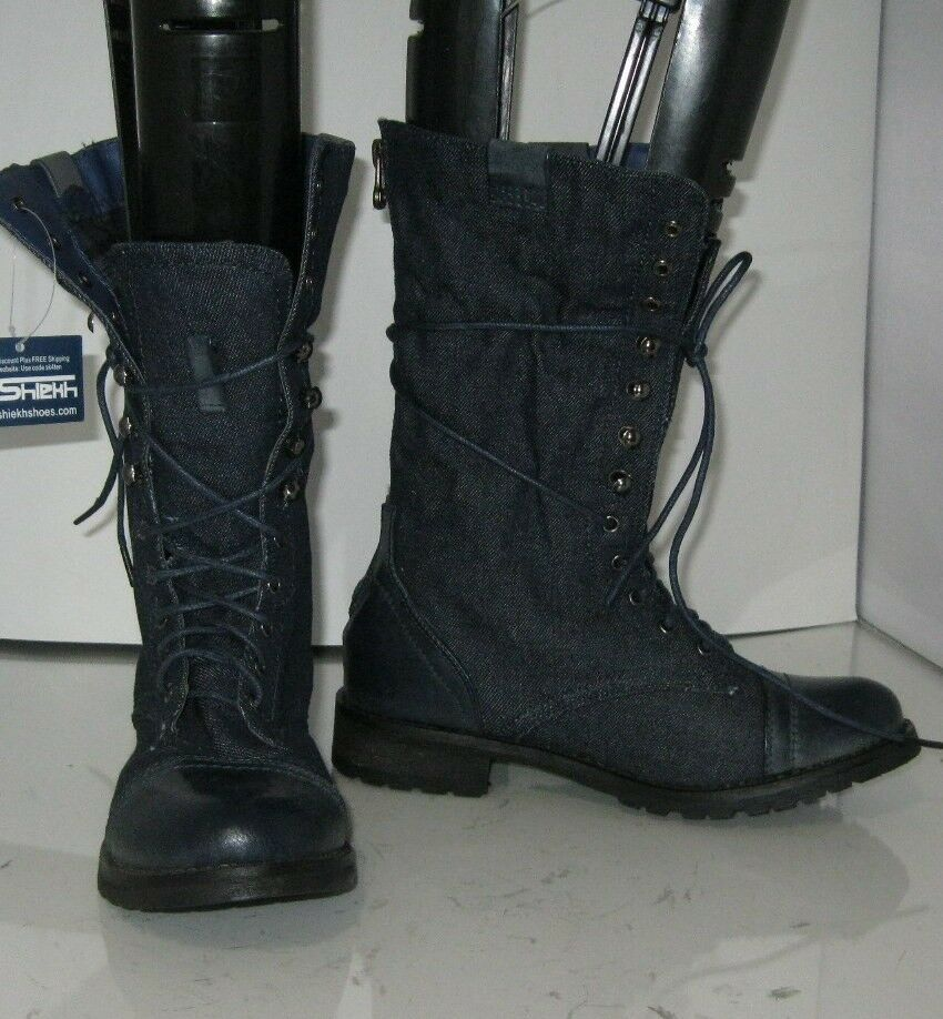 bluee Denim 1.5  Low Block Heel Lace Up Combat Ankle Sexy Boot Size 6