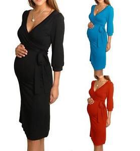 Le-Donne-Maternita-Abito-Scollo-a-V-gravidanza-Abiti-Infermieristici-ABITO-TAGLIA-8-10-12-14-16