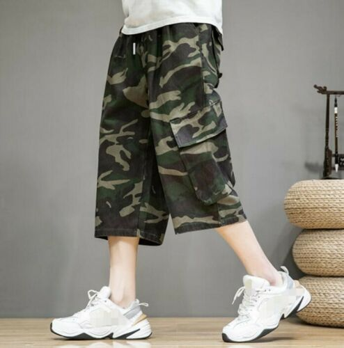 Summer Men/'s Camouflage Cargo Cropped Trousers Multi-pocket Pants Shorts Leisure