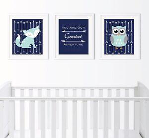 Aqua Baby Boy Woodland Nursery Prints