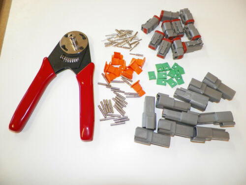 91 PC KIT WITH TEN GRAY 2X DEUTSCH SOLID CONNECTORS SETS AND CRIMPER 20-16 AWG