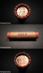 50-1952-D-Lincoln-Wheat-Penny-Shotgun-Roll-BU-Uncirculated-RED-US-Coins-MQ
