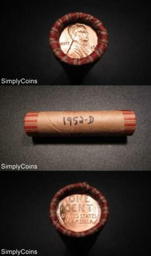 50 1952-D Lincoln Wheat Penny Shotgun Roll ~ BU Uncirculated RED ~ US Coins MQ