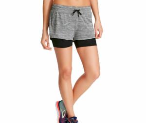 3275b4ae40f0 NWT C9 Champion Women s SMALL Black Grey Knit Layered Running Shorts ...
