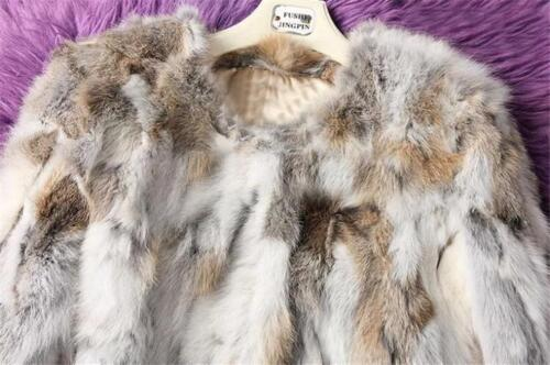 Rabbit ægte pelscoatjakke Short Warm Parka 100 Outwear Ladies Furry kvinder Nye UBXExq