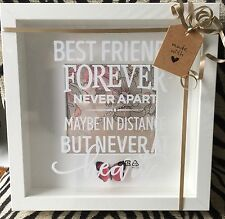 """WHITE FRAME """"BEST FRIENDS FOREVER NEVER APART MAYBE IN DISTANCE' PICTURE"""