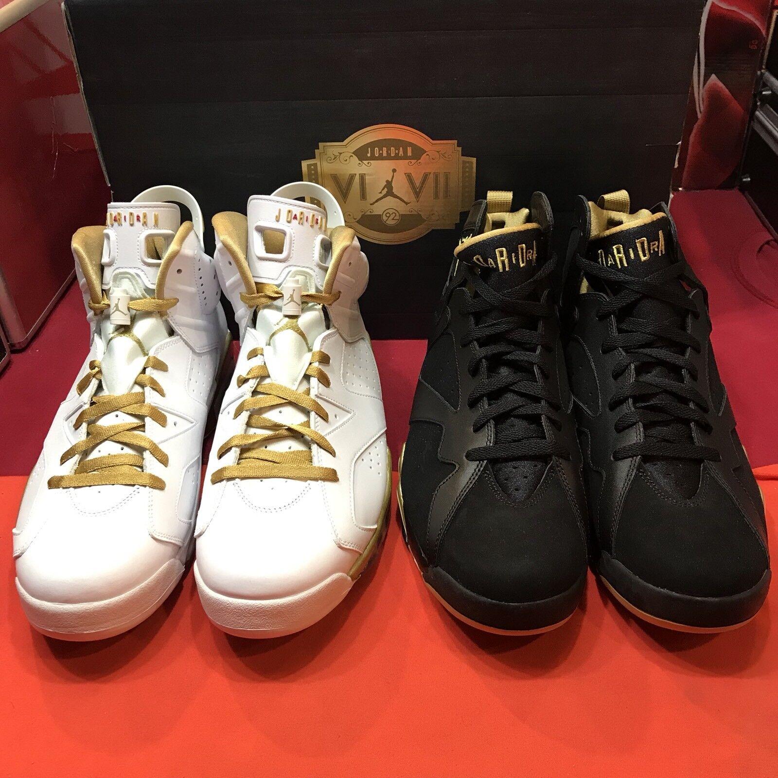 Nike air jordan retrò vii vi dimensioni 13 dmp pack gmp pdc l'oro olimpico xi 6 2 paia