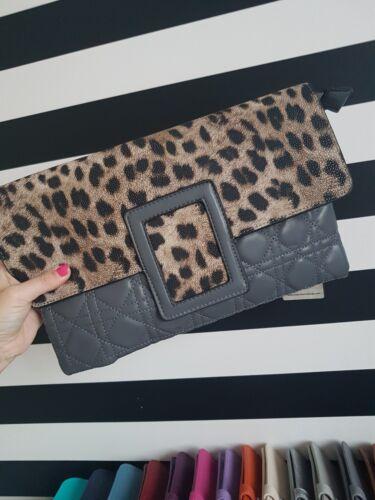 Gris Estampado de Leopardo Clutch Bag Bolso de mano Animal Print Noche Bolso BNWT