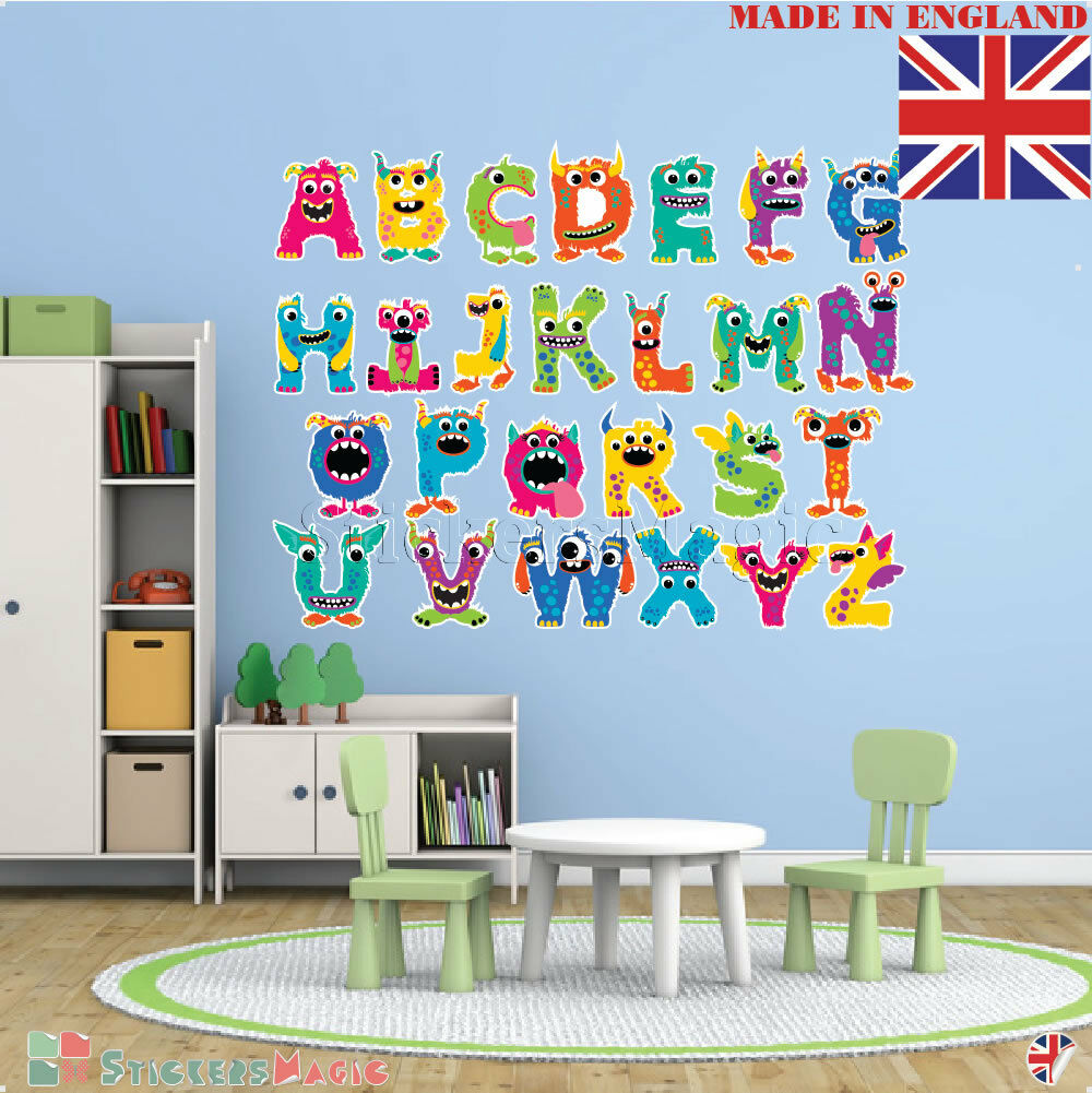 Details About Alphabet Wall Stickers Kids Nursery School Large Letters Art Toddlers Education