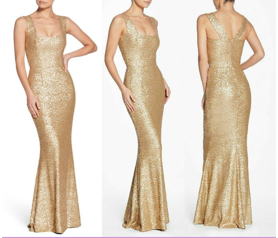 Dress The Population Raven Sequin Gown Brushed Gold Size Medium