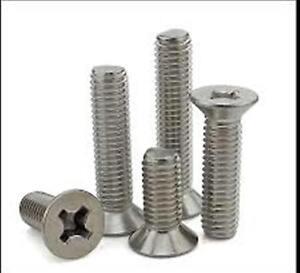 "Qty 25 1//4/""-20 x 1-1//2/"" Phillips Flat Head Machine Screws Stainless Steel"