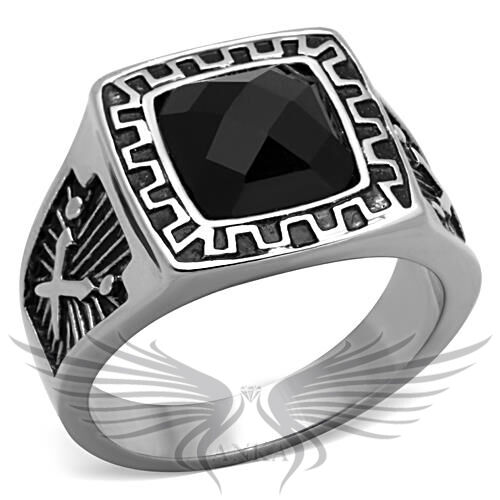 Men/'s Stainless Steel Synthetic Jet Glass Ring  8 9 10 11 12 13 TK1356