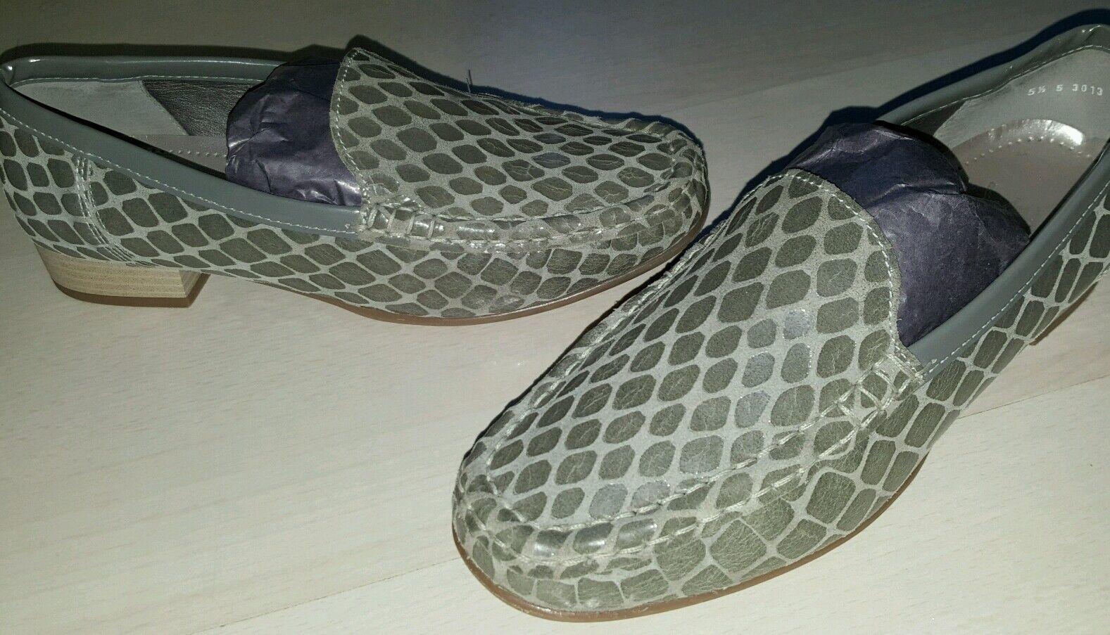 Via Milano Designer Schuh Damen Mokkassin gr.5 1 2 Reptilien Leder khaki wie Neu