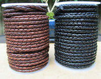 Braided Leather Cord 4mm  Genuine Real Leather Black or Antique Brown