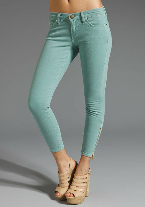 NWT Current Elliott The zip stiletto Skinny in faded teal