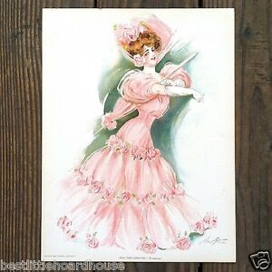 Original-NEW-YORK-SHOWGIRL-BROADWAY-Victorian-Lithograph-PRINT-1907-NOS